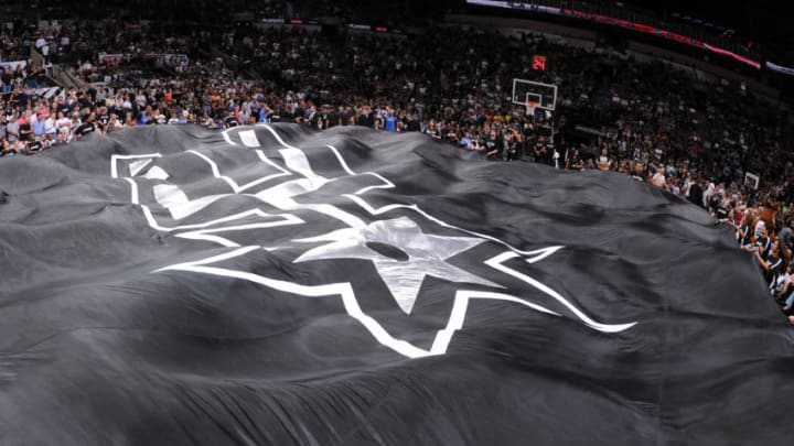 SAN ANTONIO,TX - MAY 29: Here is a photograph of the San Antonio Spurs logo prior to the game against the Oklahoma City Thunder in Game Five of the Western Conference Finals during the 2014 NBA Playoffs on May 29, 2014 at the AT
