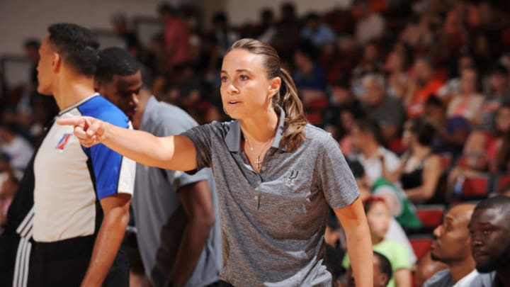 LAS VEGAS, NV - JULY 12: Coach Becky Hammon of the San Antonio Spurs looks on against the Chicago Bulls during the 2016 NBA Las Vegas Summer League game on July 12, 2016 at the Cox Pavilion in Las Vegas, Nevada. NOTE TO USER: User expressly acknowledges and agrees that, by downloading and or using this photograph, User is consenting to the terms and conditions of the Getty Images License Agreement. Mandatory Copyright Notice: Copyright 2016 NBAE (Photo by Bart Young/NBAE via Getty Images)