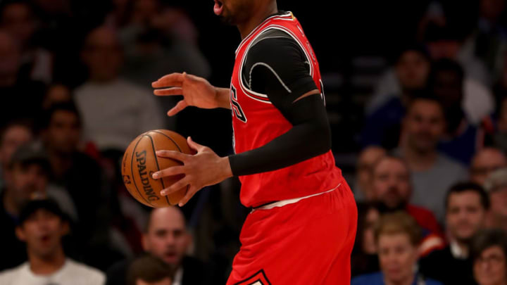 NEW YORK, NY - JANUARY 12: Dwyane Wade #3 of the Chicago Bulls reacts after he is callled for traveling in the first quarter New York Knicks at Madison Square Garden on January 12, 2017 in New York City. NOTE TO USER: User expressly acknowledges and agrees that, by downloading and or using this Photograph, user is consenting to the terms and conditions of the Getty Images License Agreement (Photo by Elsa/Getty Images)