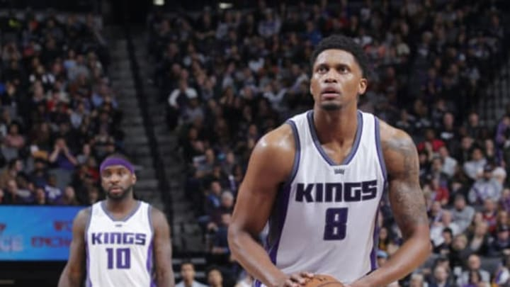 San Antonio Spurs, SACRAMENTO, CA – JANUARY 15: Rudy Gay #8 of the Sacramento Kings attempts a free-throw shot against the Oklahoma City Thunder on January 15, 2017 at Golden 1 Center in Sacramento, California. NOTE TO USER: User expressly acknowledges and agrees that, by downloading and or using this photograph, User is consenting to the terms and conditions of the Getty Images Agreement. Mandatory Copyright Notice: Copyright 2017 NBAE (Photo by Rocky Widner/NBAE via Getty Images)
