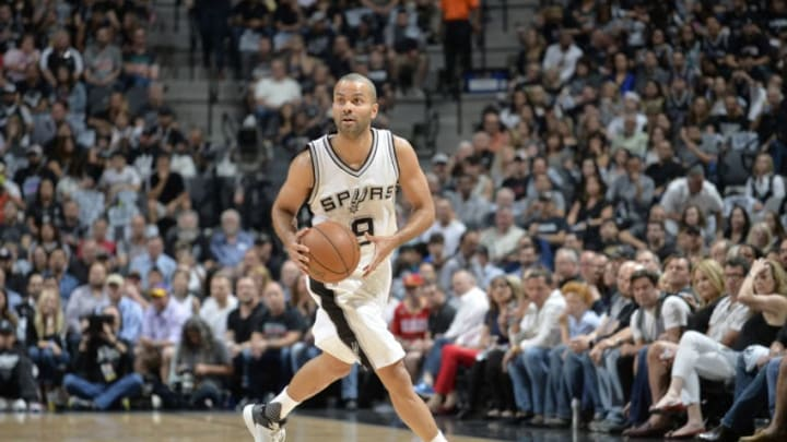 SAN ANTONIO, TX - MAY 3: Tony Parker #9 of the San Antonio Spurs handles the ball against the Houston Rockets during Game Two of the Eastern Conference Semifinals of the 2017 NBA Playoffs on MAY 3, 2017 at the AT&T Center in San Antonio, Texas. NOTE TO USER: User expressly acknowledges and agrees that, by downloading and or using this photograph, user is consenting to the terms and conditions of the Getty Images License Agreement. Mandatory Copyright Notice: Copyright 2017 NBAE (Photos by Mark Sobhani/NBAE via Getty Images)