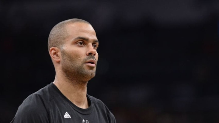 SAN ANTONIO, TX - MAY 3: A close up shot of Tony Parker #9 of the San Antonio Spurs before Game Two of the Eastern Conference Semifinals against the Houston Rockets during the 2017 NBA Playoffs on MAY 3, 2017 at the AT&T Center in San Antonio, Texas. NOTE TO USER: User expressly acknowledges and agrees that, by downloading and or using this photograph, user is consenting to the terms and conditions of the Getty Images License Agreement. Mandatory Copyright Notice: Copyright 2017 NBAE (Photos by David Dow/NBAE via Getty Images)