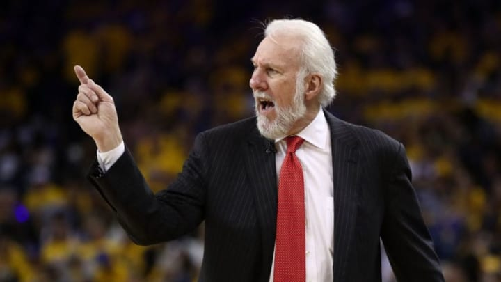 OAKLAND, CA - MAY 16: Gregg Popovich of the San Antonio Spurs looks on during Game Two of the NBA Western Conference Finals against the Golden State Warriors at ORACLE Arena on May 16, 2017 in Oakland, California. NOTE TO USER: User expressly acknowledges and agrees that, by downloading and or using this photograph, User is consenting to the terms and conditions of the Getty Images License Agreement. (Photo by Ezra Shaw/Getty Images)