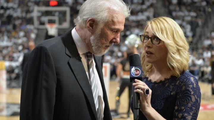 SAN ANTONIO, TX - MAY 20: ESPN NBA Reporter, Doris Burke interviews Gregg Popovich of the San Antonio Spurs after Game Three of the Western Conference Finals against the Golden State Warriors during the 2017 NBA Playoffs on May 20, 2017 at the AT