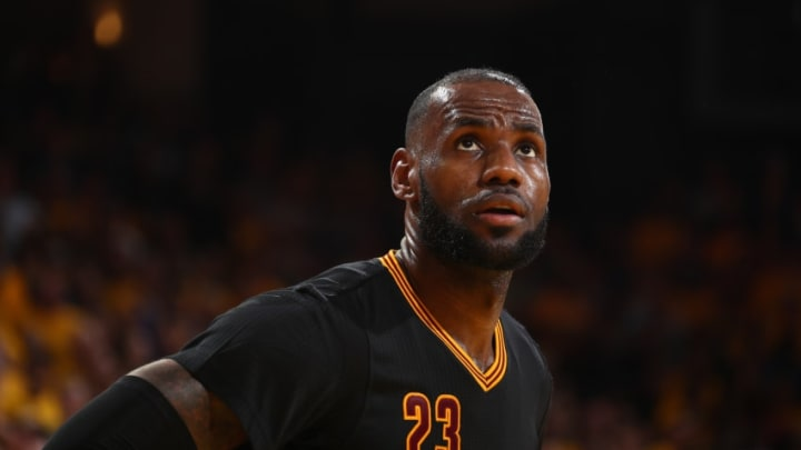 OAKLAND, CA - JUNE 12: A close up shot of LeBron James #23 of the Cleveland Cavaliers in Game Five of the 2017 NBA Finals against the Golden State Warriors on June 12, 2017 at Oracle Arena in Oakland, California. NOTE TO USER: User expressly acknowledges and agrees that, by downloading and or using this photograph, user is consenting to the terms and conditions of Getty Images License Agreement. Mandatory Copyright Notice: Copyright 2017 NBAE (Photo by Nathaniel S. Butler/NBAE via Getty Images)