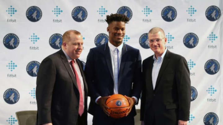BLOOMINGTON, MN – JUNE 29: Tom Thibobeau introduces Jimmy Butler of the Minnesota Timberwolves to the public during a press conference at the Mall of America on June 29, 2017 in Bloomington, Minnesota. NOTE TO USER: User expressly acknowledges and agrees that, by downloading and or using this Photograph, user is consenting to the terms and conditions of the Getty Images License Agreement. Mandatory Copyright Notice: Copyright 2017 NBAE (Photo by Gary Dineen/NBAE via Getty Images)