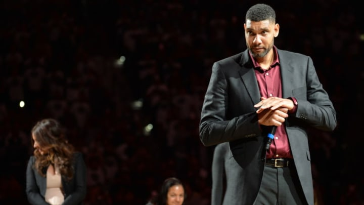 SAN ANTONIO, TX - DECEMBER 18: NBA Legend Tim Duncan is honored at his jersey retirement ceremony on December 18, 2016 at the AT