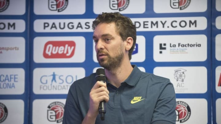 BARCELONA, SPAIN - JUNE 29: San Antonio Spurs player Pau Gasol attends the press during the presentation of Pau Gasol Academy 2017 at Cafe NBA on June 29, 2017 in Barcelona, Spain. (Photo by Jordi Vidal/Getty Images)