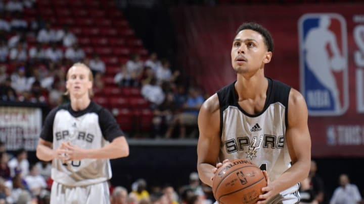 LAS VEGAS, NV - JULY 15: Bryn Forbes #11 of the San Antonio Spurs shoots a free throw against the Portland Trail Blazers during the Quarterfinals of the 2017 Summer League on July 15, 2017 at the Thomas & Mack Center in Las Vegas, Nevada. NOTE TO USER: User expressly acknowledges and agrees that, by downloading and or using this Photograph, user is consenting to the terms and conditions of the Getty Images License Agreement. Mandatory Copyright Notice: Copyright 2017 NBAE (Photo by David Dow/NBAE via Getty Images)