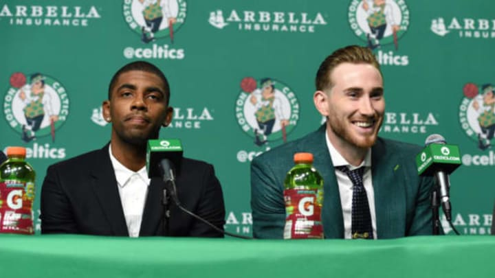 BOSTON, MA – SEPTEMBER 1: Kyrie Irving and Gordon Hayward get introduced as Boston Celtics on September 1, 2017 at the TD Garden in Boston, Massachusetts. NOTE TO USER: User expressly acknowledges and agrees that, by downloading and or using this photograph, User is consenting to the terms and conditions of the Getty Images License Agreement. Mandatory Copyright Notice: Copyright 2017 NBAE (Photo by Brian Babineau/NBAE via Getty Images)