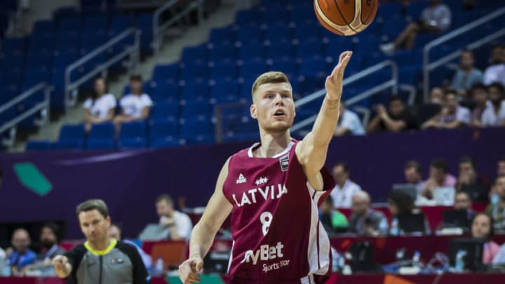 t September 2017, Fenerbahce Arena, Istanbul, Turkey; FIBA Eurobasket Group D; Serbia versus Latvia; Power Forward Davis Bertans #8 of Latvia in action during the match (Photo by Nikola Krstic/Action Plus via Getty Images)