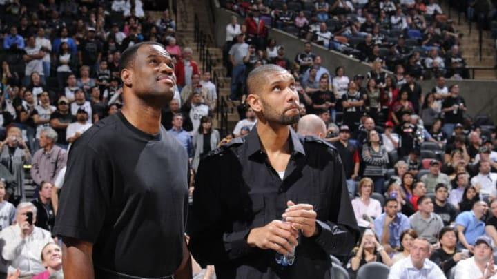 SAN ANTONIO, TX - MARCH 21: Former San Antonio Spurs player David Robinson and Tim Duncan