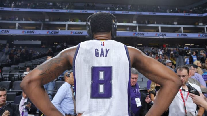SACRAMENTO, CA - OCTOBER 29: Rudy Gay #8 of the Sacramento Kings speaks with media after the game against the Minnesota Timberwolves on October 29, 2016 at Golden 1 Center in Sacramento, California. NOTE TO USER: User expressly acknowledges and agrees that, by downloading and or using this photograph, User is consenting to the terms and conditions of the Getty Images Agreement. Mandatory Copyright Notice: Copyright 2016 NBAE (Photo by Rocky Widner/NBAE via Getty Images)
