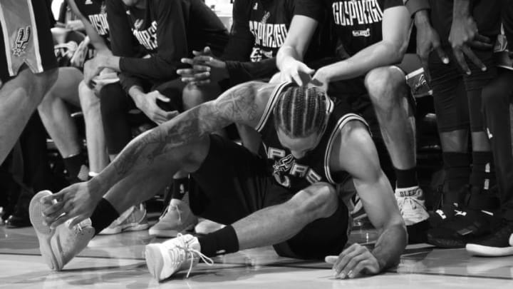 OAKLAND, CA - MAY 14: (EDITORS NOTE: Image has been converted to black and white.) Kawhi Leonard