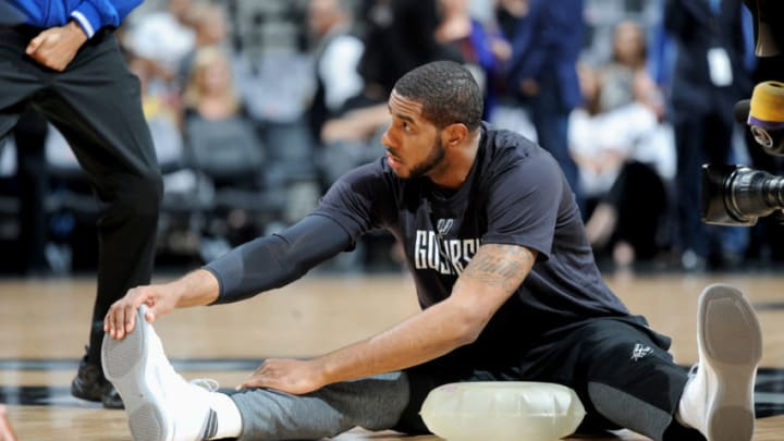 SAN ANTONIO, TX - MAY 22: LaMarcus Aldridge #12 of the San Antonio Spurs stretches before the game against the Golden State Warriors during Game Four of the Western Conference Finals of the 2017 NBA Playoffs on MAY 22, 2017 at the AT&T Center in San Antonio, Texas. NOTE TO USER: User expressly acknowledges and agrees that, by downloading and or using this photograph, user is consenting to the terms and conditions of the Getty Images License Agreement. Mandatory Copyright Notice: Copyright 2017 NBAE (Photos by Mark Sobhani/NBAE via Getty Images)