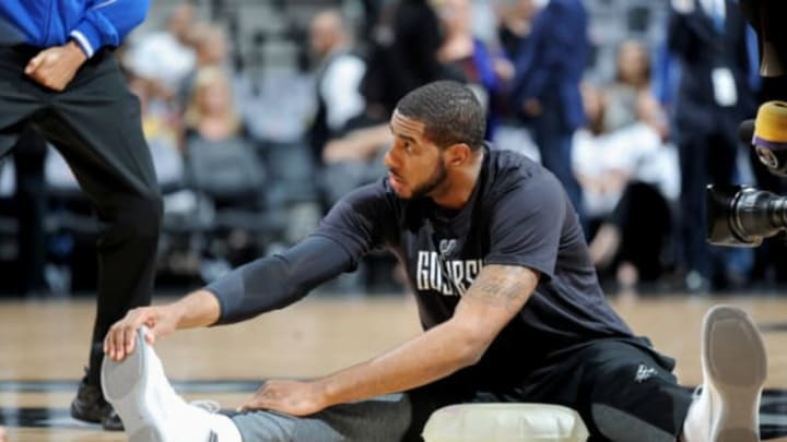 SAN ANTONIO, TX – MAY 22: LaMarcus Aldridge #12 of the San Antonio Spurs stretches before the game against the Golden State Warriors during Game Four of the Western Conference Finals of the 2017 NBA Playoffs on MAY 22, 2017 at the AT&T Center in San Antonio, Texas. NOTE TO USER: User expressly acknowledges and agrees that, by downloading and or using this photograph, user is consenting to the terms and conditions of the Getty Images License Agreement. Mandatory Copyright Notice: Copyright 2017 NBAE (Photos by Mark Sobhani/NBAE via Getty Images)