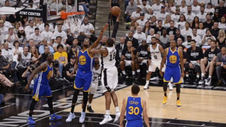 SAN ANTONIO, TX – MAY 22: LaMarcus Aldridge #12 of the San Antonio Spurs shoots a hook shot against the Golden State Warriors in Game Four of the Western Conference Finals during the 2017 NBA Playoffs on MAY 22, 2017 at the AT&T Center in San Antonio, Texas. NOTE TO USER: User expressly acknowledges and agrees that, by downloading and or using this photograph, user is consenting to the terms and conditions of the Getty Images License Agreement. Mandatory Copyright Notice: Copyright 2017 NBAE (Photos by David Dow/NBAE via Getty Images)