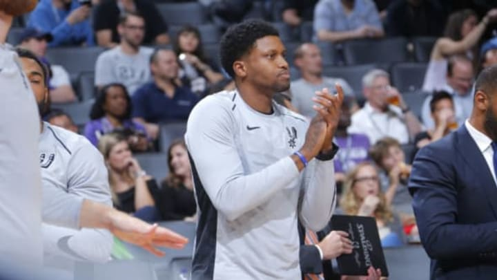 SACRAMENTO, CA – OCTOBER 2: Rudy Gay #22 of the San Antonio Spurs reacts to a play against the Sacramento Kings during the preseason game on October 2, 2017 at Golden 1 Center in Sacramento, California. NOTE TO USER: User expressly acknowledges and agrees that, by downloading and or using this Photograph, user is consenting to the terms and conditions of the Getty Images License Agreement. Mandatory Copyright Notice: Copyright 2017 NBAE (Photo by Rocky Widner/NBAE via Getty Images)