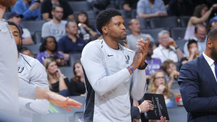 SACRAMENTO, CA - OCTOBER 2: Rudy Gay #22 of the San Antonio Spurs reacts to a play against the Sacramento Kings during the preseason game on October 2, 2017 at Golden 1 Center in Sacramento, California. NOTE TO USER: User expressly acknowledges and agrees that, by downloading and or using this Photograph, user is consenting to the terms and conditions of the Getty Images License Agreement. Mandatory Copyright Notice: Copyright 2017 NBAE (Photo by Rocky Widner/NBAE via Getty Images)