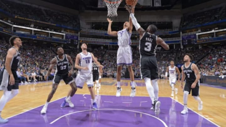 SACRAMENTO, CA – OCTOBER 2: Skal Labissiere #7 of the Sacramento Kings shoots the ball against the San Antonio Spurs during the preseason game on October 2, 2017 at Golden 1 Center in Sacramento, California. NOTE TO USER: User expressly acknowledges and agrees that, by downloading and or using this Photograph, user is consenting to the terms and conditions of the Getty Images License Agreement. Mandatory Copyright Notice: Copyright 2017 NBAE (Photo by Rocky Widner/NBAE via Getty Images)