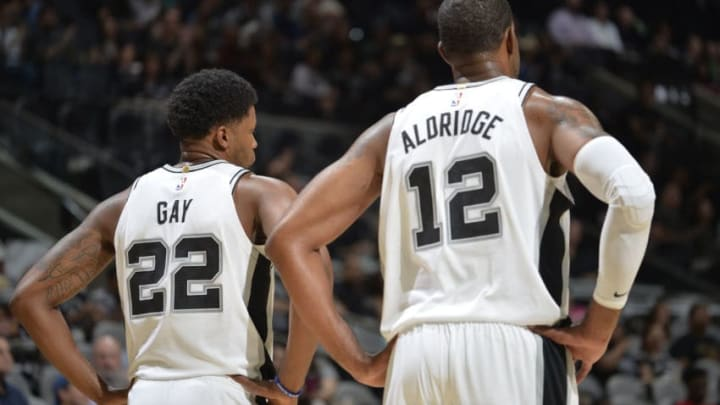 SAN ANTONIO, TX - OCTOBER 6: Rudy Gay #22 and LaMarcus Aldridge #12 of the San Antonio Spurs looks on during the game against the Sacramento Kings on October 6, 2017 at the AT&T Center in San Antonio, Texas. NOTE TO USER: User expressly acknowledges and agrees that, by downloading and or using this photograph, user is consenting to the terms and conditions of the Getty Images License Agreement. Mandatory Copyright Notice: Copyright 2017 NBAE (Photos by Mark Sobhani/NBAE via Getty Images)