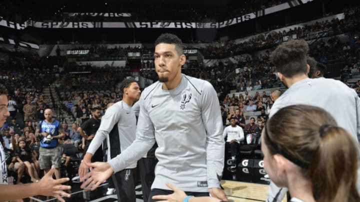 SAN ANTONIO, TX - OCTOBER 8: Danny Green #14 of the San Antonio Spurs gets introduced before the preseason game against the Denver Nuggets on October 8, 2017 at the AT&T Center in San Antonio, Texas. NOTE TO USER: User expressly acknowledges and agrees that, by downloading and or using this photograph, user is consenting to the terms and conditions of the Getty Images License Agreement. Mandatory Copyright Notice: Copyright 2017 NBAE (Photos by Mark Sobhani/NBAE via Getty Images)