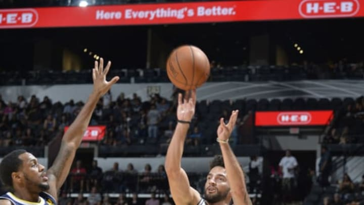 SAN ANTONIO, TX – OCTOBER 8: London Perrantes #7 of the San Antonio Spurs shoots the ball against the Denver Nuggets during the preseason game on October 8, 2017 at the AT&T Center in San Antonio, Texas. NOTE TO USER: User expressly acknowledges and agrees that, by downloading and or using this photograph, user is consenting to the terms and conditions of the Getty Images License Agreement. Mandatory Copyright Notice: Copyright 2017 NBAE (Photos by Mark Sobhani/NBAE via Getty Images)