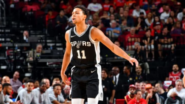 HOUSTON, TX – OCTOBER 17: Bryn Forbes #11 of the San Antonio Spurs reacts during the preseason game against the Houston Rockets on October 13, 2017 at Toyota Center in Houston, Texas. NOTE TO USER: User expressly acknowledges and agrees that, by downloading and/or using this Photograph, user is consenting to the terms and conditions of the Getty Images License Agreement. Mandatory Copyright Notice: Copyright 2017 NBAE (Photo by Jesse D. Garrabrant/NBAE via Getty Images)