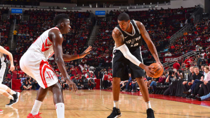 HOUSTON, TX - OCTOBER 17: LaMarcus Aldridge #12 of the San Antonio Spurs handles the ball during the preseason game against the Houston Rockets on October 13, 2017 at Toyota Center in Houston, Texas. NOTE TO USER: User expressly acknowledges and agrees that, by downloading and/or using this Photograph, user is consenting to the terms and conditions of the Getty Images License Agreement. Mandatory Copyright Notice: Copyright 2017 NBAE (Photo by Jesse D. Garrabrant/NBAE via Getty Images)