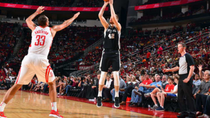 HOUSTON, TX – OCTOBER 17: Davis Bertans #42 of the San Antonio Spurs shoots the ball during the preseason game against the Houston Rockets on October 13, 2017 at Toyota Center in Houston, Texas. NOTE TO USER: User expressly acknowledges and agrees that, by downloading and/or using this Photograph, user is consenting to the terms and conditions of the Getty Images License Agreement. Mandatory Copyright Notice: Copyright 2017 NBAE (Photo by Jesse D. Garrabrant/NBAE via Getty Images)