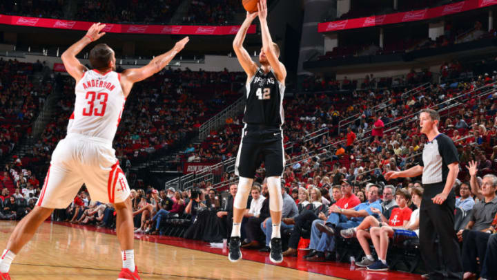 HOUSTON, TX - OCTOBER 17: Davis Bertans #42 of the San Antonio Spurs shoots the ball during the preseason game against the Houston Rockets on October 13, 2017 at Toyota Center in Houston, Texas. NOTE TO USER: User expressly acknowledges and agrees that, by downloading and/or using this Photograph, user is consenting to the terms and conditions of the Getty Images License Agreement. Mandatory Copyright Notice: Copyright 2017 NBAE (Photo by Jesse D. Garrabrant/NBAE via Getty Images)