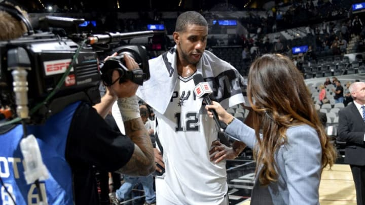 SAN ANTONIO, TX - OCTOBER 18: LaMarcus Aldridge #12 of the San Antonio Spurs speaks to the media after the game against the Minnesota Timberwolves on October 18, 2017 at the AT&T Center in San Antonio, Texas. NOTE TO USER: User expressly acknowledges and agrees that, by downloading and or using this photograph, user is consenting to the terms and conditions of the Getty Images License Agreement. Mandatory Copyright Notice: Copyright 2017 NBAE (Photos by Mark Sobhani/NBAE via Getty Images)