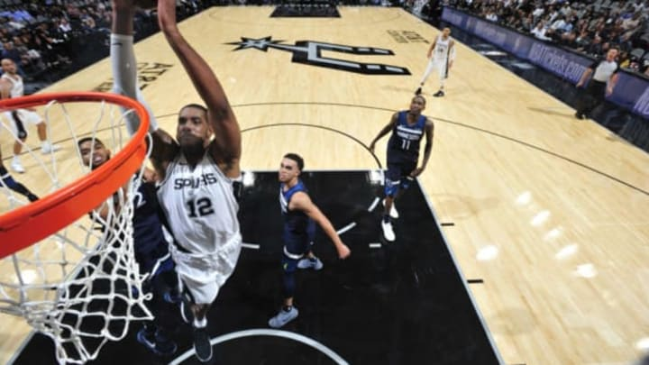 SAN ANTONIO, TX – OCTOBER 18: LaMarcus Aldridge #12 of the San Antonio Spurs goes to the basket against the Minnesota Timberwolves on October 18, 2017 at the AT&T Center in San Antonio, Texas. NOTE TO USER: User expressly acknowledges and agrees that, by downloading and or using this photograph, user is consenting to the terms and conditions of the Getty Images License Agreement. Mandatory Copyright Notice: Copyright 2017 NBAE (Photos by Mark Sobhani/NBAE via Getty Images)