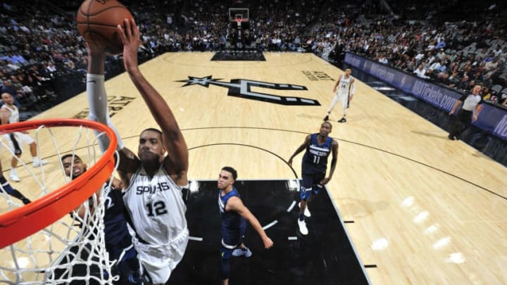SAN ANTONIO, TX - OCTOBER 18: LaMarcus Aldridge #12 of the San Antonio Spurs goes to the basket against the Minnesota Timberwolves on October 18, 2017 at the AT&T Center in San Antonio, Texas. NOTE TO USER: User expressly acknowledges and agrees that, by downloading and or using this photograph, user is consenting to the terms and conditions of the Getty Images License Agreement. Mandatory Copyright Notice: Copyright 2017 NBAE (Photos by Mark Sobhani/NBAE via Getty Images)