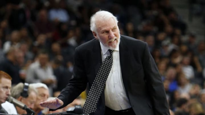 SAN ANTONIO,TX - OCTOBER 18: San Antonio Spurs head coach Gregg Popovich reacts after a call during game against the Minnesota Timberwolves at AT
