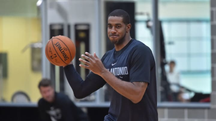 SAN ANTONIO, TX - OCTOBER 12: LaMarcus Aldridge #12 of the San Antonio Spurs passes the ball during an all access practice on October 10, 2017 in San Antonio, Texas at the Spurs Practice Facility. NOTE TO USER: User expressly acknowledges and agrees that, by downloading and/or using this Photograph, user is consenting to the terms and conditions of the Getty Images License Agreement. Mandatory Copyright Notice: Copyright 2017 NBAE (Photo by Robin Jerstad/NBAE via Getty Images)