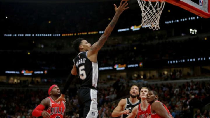 CHICAGO, IL – OCTOBER 21: Dejounte Murray #5 of the San Antonio Spurs attempts a shot in the fourth quarter against the Chicago Bulls at the United Center on October 21, 2017 in Chicago, Illinois. NOTE TO USER: User expressly acknowledges and agrees that, by downloading and or using this photograph, User is consenting to the terms and conditions of the Getty Images License Agreement. (Photo by Dylan Buell/Getty Images)