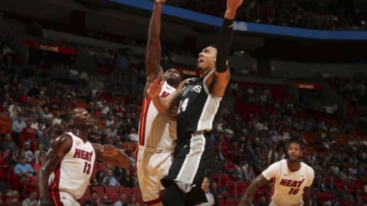 MIAMI, FL – OCTOBER 25: Danny Green #14 of the San Antonio Spurs shoots the ball against the Miami Heat on October 25, 2017 at AmericanAirlines Arena in Miami, Florida. NOTE TO USER: User expressly acknowledges and agrees that, by downloading and or using this Photograph, user is consenting to the terms and conditions of the Getty Images License Agreement. Mandatory Copyright Notice: Copyright 2017 NBAE (Photo by Issac Baldizon/NBAE via Getty Images)