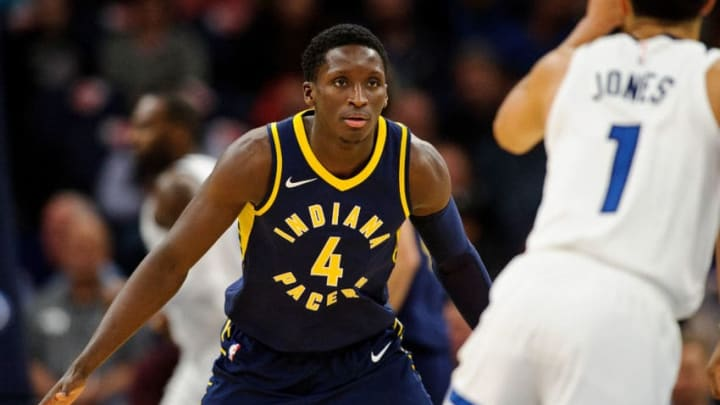 MINNEAPOLIS, MN - OCTOBER 24: Victor Oladipo #4 of the Indiana Pacers defends against Tyus Jones #1 of the Minnesota Timberwolves during the game on October 24, 2017 at the Target Center in Minneapolis, Minnesota. NOTE TO USER: User expressly acknowledges and agrees that, by downloading and or using this Photograph, user is consenting to the terms and conditions of the Getty Images License Agreement. (Photo by Hannah Foslien/Getty Images)