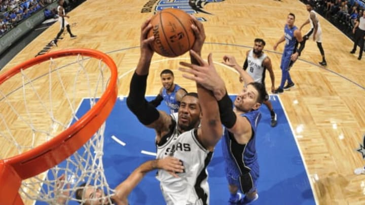 ORLANDO, FL – OCTOBER 27: LaMarcus Aldridge #12 of the San Antonio Spurs shoots the ball against the Orlando Magic on October 27, 2017 at Amway Center in Orlando, Florida. NOTE TO USER: User expressly acknowledges and agrees that, by downloading and or using this photograph, User is consenting to the terms and conditions of the Getty Images License Agreement. Mandatory Copyright Notice: Copyright 2017 NBAE (Photo by Fernando Medina/NBAE via Getty Images)