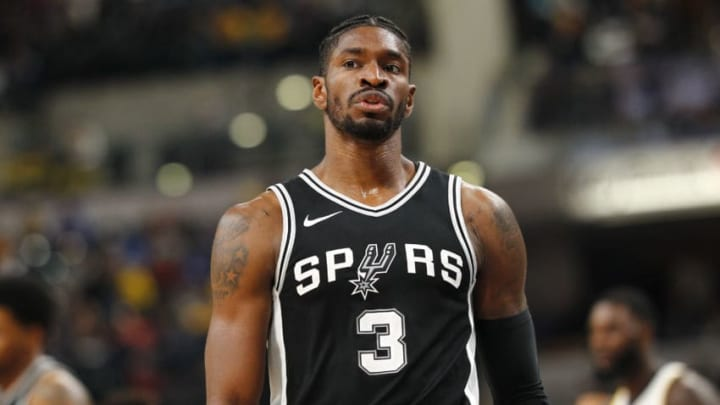 INDIANAPOLIS, IN - OCTOBER 29: Brandon Paul #3 of the San Antonio Spurs is seen during the game against the Indiana Pacers at Bankers Life Fieldhouse on October 29, 2017 in Indianapolis, Indiana. NOTE TO USER: User expressly acknowledges and agrees that, by downloading and or using this photograph, User is consenting to the terms and conditions of the Getty Images License Agreement.(Photo by Michael Hickey/Getty Images)