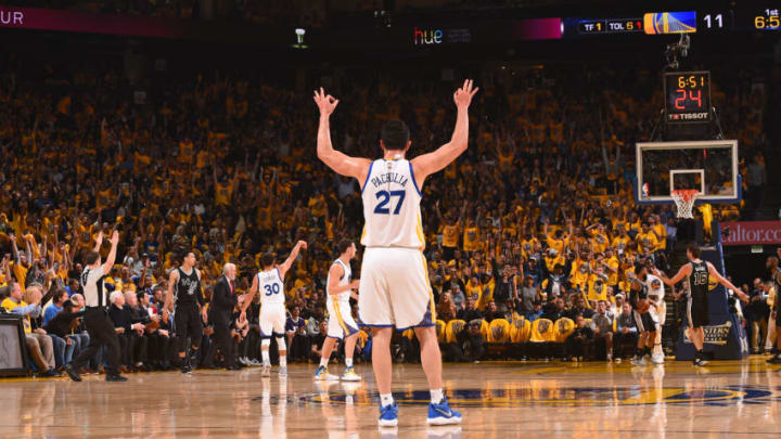 OAKLAND, CA - MAY 16: Zaza Pachulia #27 of the Golden State Warriors celebrates after scoring against the San Antonio Spurs during Game Two of the Western Conference Finals of the 2017 NBA Playoffs on May 16, 2017 at ORACLE Arena in Oakland, California. NOTE TO USER: User expressly acknowledges and agrees that, by downloading and or using this photograph, user is consenting to the terms and conditions of Getty Images License Agreement. Mandatory Copyright Notice: Copyright 2017 NBAE (Photo by Noah Graham/NBAE via Getty Images)