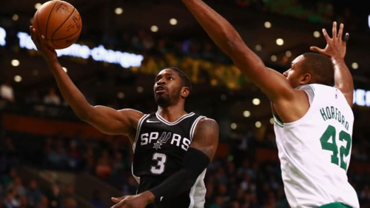 BOSTON, MA - OCTOBER 30: Brandon Paul #3 of the San Antonio Spurs scores a layup during the second half of the game against the Boston Celtics at TD Garden on October 30, 2017 in Boston, Massachusetts. NOTE TO USER: User expressly acknowledges and agrees that, by downloading and or using this photograph, User is consenting to the terms and conditions of the Getty Images License Agreement. (Photo by Omar Rawlings/Getty Images)