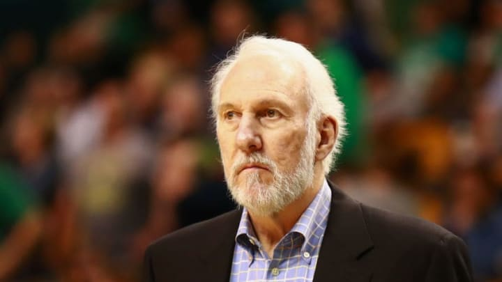 BOSTON, MA - OCTOBER 30: Head Coach Gregg Popovich of the San Antonio Spurs looks on during the game against the Boston Celtics at TD Garden on October 30, 2017 in Boston, Massachusetts. NOTE TO USER: User expressly acknowledges and agrees that, by downloading and or using this photograph, User is consenting to the terms and conditions of the Getty Images License Agreement. (Photo by Omar Rawlings/Getty Images)