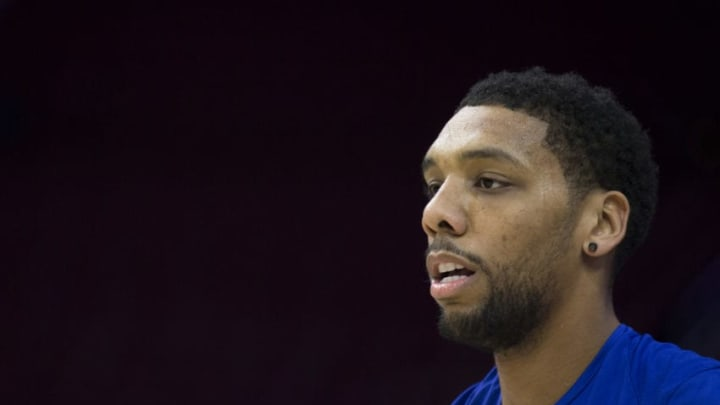HILADELPHIA, PA - NOVEMBER 1: Jahlil Okafor #8 of the Philadelphia 76ers looks on prior to the game against the Atlanta Hawks at the Wells Fargo Center on November 1, 2017 in Philadelphia, Pennsylvania. NOTE TO USER: User expressly acknowledges and agrees that, by downloading and or using this photograph, User is consenting to the terms and conditions of the Getty Images License Agreement. (Photo by Mitchell Leff/Getty Images)