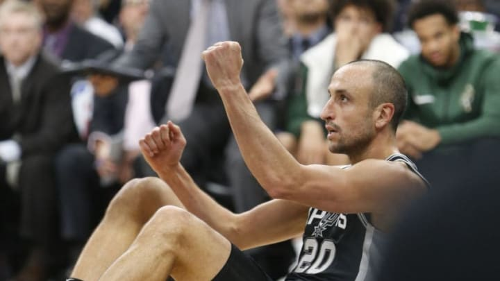 SAN ANTONIO,TX - NOVEMBER 10: Manu Ginobili #20 of the San Antonio Spurs celebrates after scoring two against the Milwaukee Bucks at AT&T Center on November 10, 2017 in San Antonio, Texas. NOTE TO USER: User expressly acknowledges and agrees that , by downloading and or using this photograph, User is consenting to the terms and conditions of the Getty Images License Agreement. (Photo by Ronald Cortes/Getty Images)