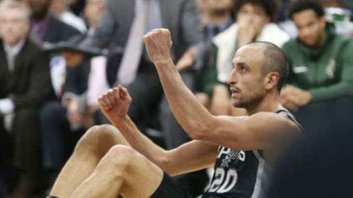 SAN ANTONIO,TX – NOVEMBER 10: Manu Ginobili #20 of the San Antonio Spurs celebrates after scoring two against the Milwaukee Bucks at AT&T Center on November 10, 2017 in San Antonio, Texas. NOTE TO USER: User expressly acknowledges and agrees that , by downloading and or using this photograph, User is consenting to the terms and conditions of the Getty Images License Agreement. (Photo by Ronald Cortes/Getty Images)