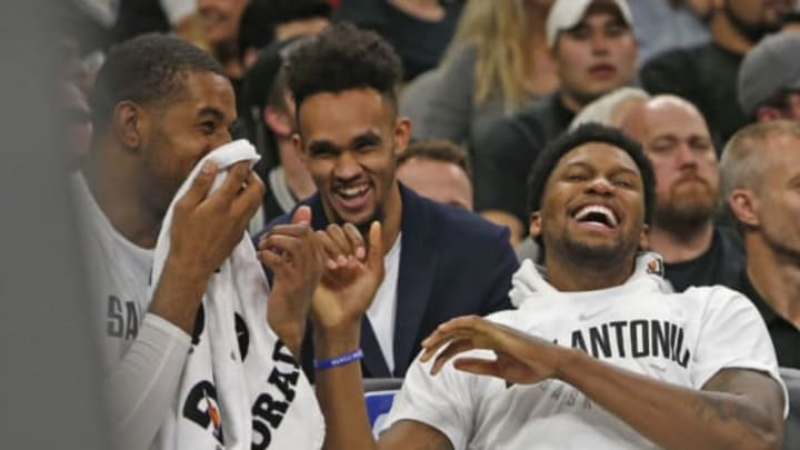SAN ANTONIO, TX – NOVEMBER 11: Rudy Gay #22 of the San Antonio Spurs shares a light moment with LaMarcus Aldridge #12 of the San Antonio Spurs,L, during game against the Chicago Bulls at AT&T Center on November 11, 2017 in San Antonio, Texas. NOTE TO USER: User expressly acknowledges and agrees that , by downloading and or using this photograph, User is consenting to the terms and conditions of the Getty Images License Agreement. (Photo by Ronald Cortes/Getty Images)