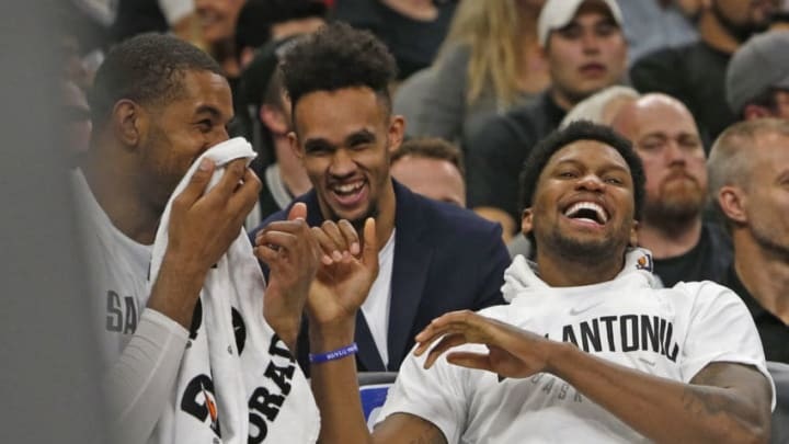 SAN ANTONIO, TX - NOVEMBER 11: Rudy Gay #22 of the San Antonio Spurs shares a light moment with LaMarcus Aldridge #12 of the San Antonio Spurs,L, during game against the Chicago Bulls at AT&T Center on November 11, 2017 in San Antonio, Texas. NOTE TO USER: User expressly acknowledges and agrees that , by downloading and or using this photograph, User is consenting to the terms and conditions of the Getty Images License Agreement. (Photo by Ronald Cortes/Getty Images)