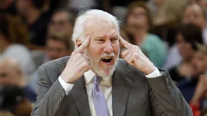 SAN ANTONIO,TX - NOVEMBER 17, 2017 : Gregg Popovich head coach of the San Antonio Spurs during the game against the Oklahoma City Thunder at AT